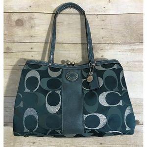 COACH F20427 Signature Metallic Satchel Handbag